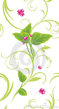 Sprig with pink flowers. Decorative background