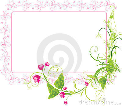 Sprig with pink flowers. Frame