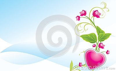 Sprig with pink flowers and heart