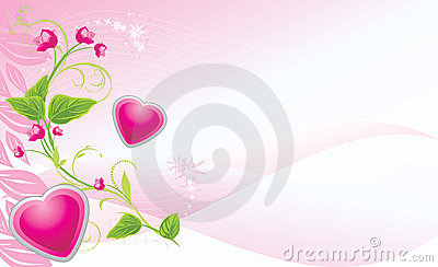 Sprig with pink flowers and hearts