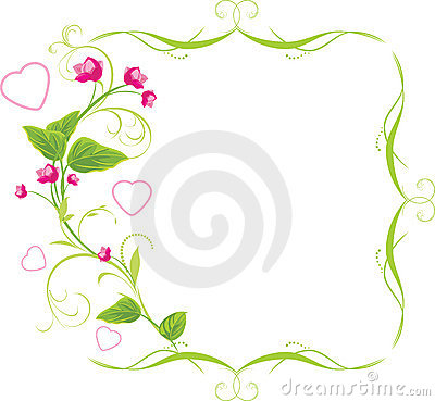 Sprig with pink flowers and hearts. Frame