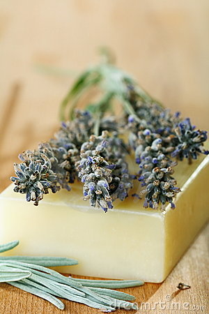 Sprigs of lavender on a piece of soap.