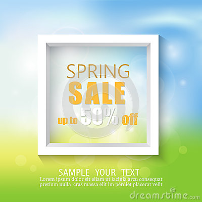 Spring abstract background with white frame.Spring discounts and sales. Vector Illustration