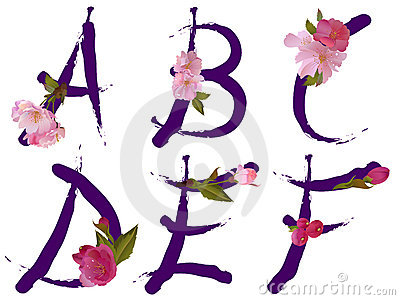Spring alphabet with flowers letters A,B,C,D,E,F