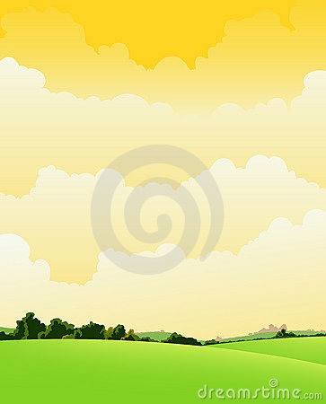 Free Spring And Summer Cloudy Landscape Royalty Free Stock Photo - 22749985