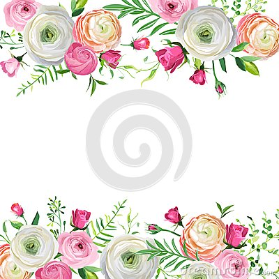 Free Spring And Summer Floral Frame For Holidays Decoration. Wedding Invitation, Greeting Card Template With Blooming Flowers Royalty Free Stock Image - 111803986