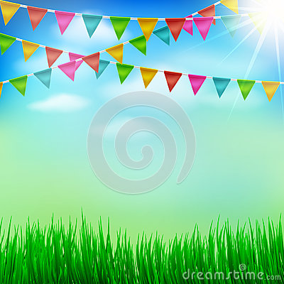 Free Spring And Summer Garden Party Background With Bunting Triangle Stock Photos - 87138153
