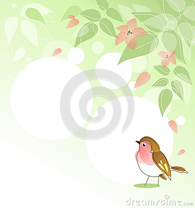 Spring background with bird