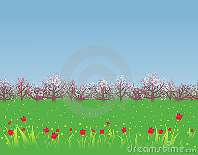 Spring background with a flowering garden