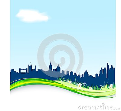 Spring background with London skyline.