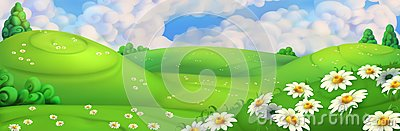 Spring background. Meadow with daisies vector illustration Vector Illustration