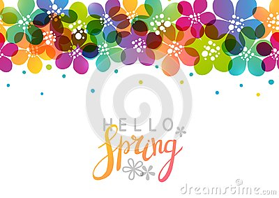 Spring background with vibrant flowers Vector Illustration