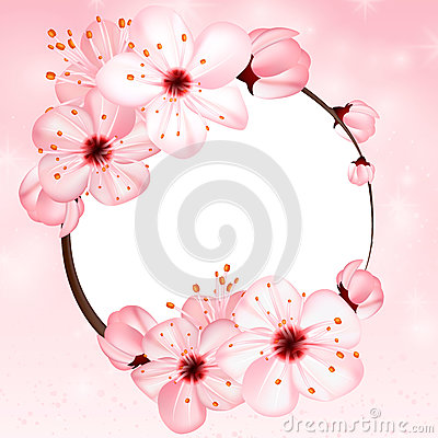 Free Spring Background With Pink Blossom Flowers. Vector 3d Illustration. Beautiful Vernal Floral Banner, Poster, Flyer Stock Photography - 86099012