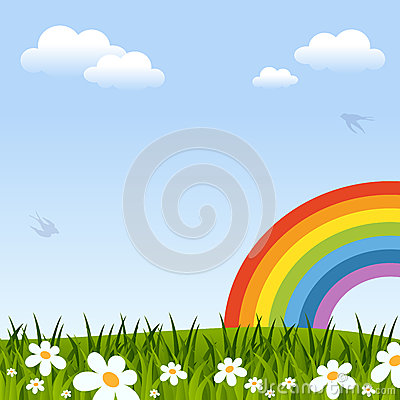 Free Spring Background With Rainbow Stock Photos - 30777033