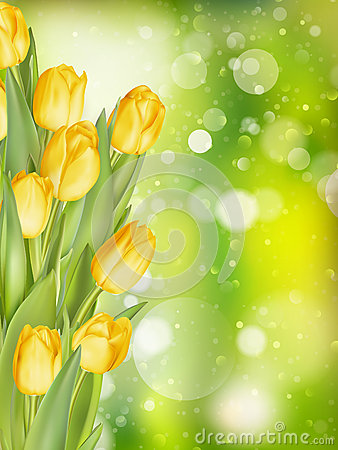 Free Spring Background With Tulips. EPS 10 Royalty Free Stock Image - 70555886