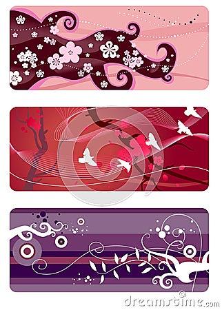Spring backgrounds set
