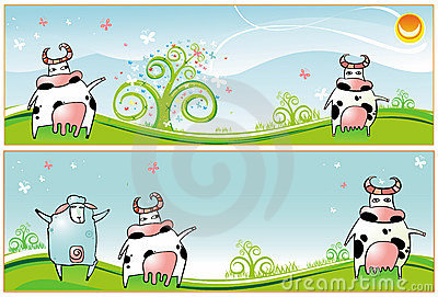Spring  banners  Cows  sheep