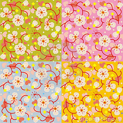 Spring blossom floral seamless repeat patterns