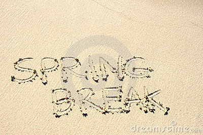 Spring Break Written in Sand on Beach