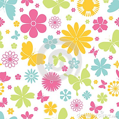 Free Spring Butterflies And Flowers Seamless Pattern Stock Photo - 40822580