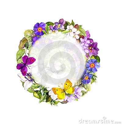 Free Spring Butterflies, Meadow Flowers, Wild Grass. Floral Wreath. Watercolor Stock Image - 77878681