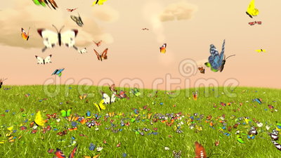 Spring Butterfly. Abstract 3d animation