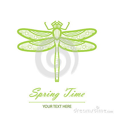 Spring card with an unusual dragonfly