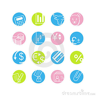 Spring circle finance icons