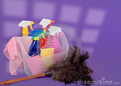Cleaning Supplies Against A Purple Background