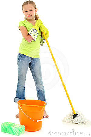 Spring Cleaning Girl Child Mop Bucket Smile
