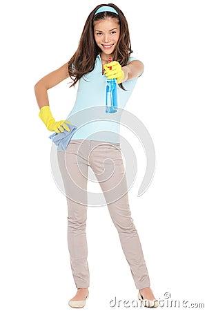 Spring cleaning woman fun