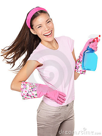 Spring cleaning woman fun isolated