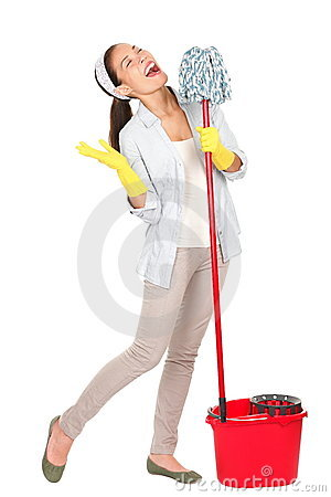 Free Spring Cleaning Woman Singing Fun Stock Photos - 23107293