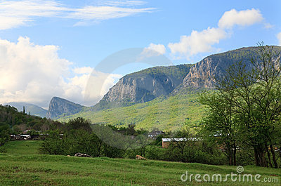 Spring country mountains landscape (Crimea)