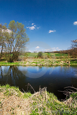 Spring countryside with river