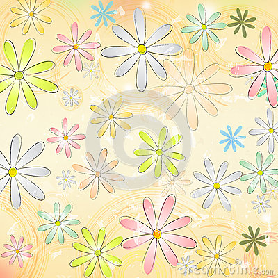 Free Spring Daisy Flowers Over Beige Old Paper Background With Circle Royalty Free Stock Image - 29778836