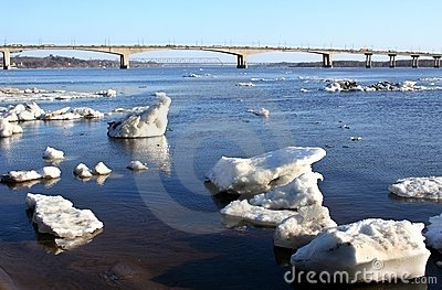 Spring.  Drifting Ice on river .