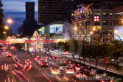 Spring Festival Traffic in Chinatown Editorial Stock Image