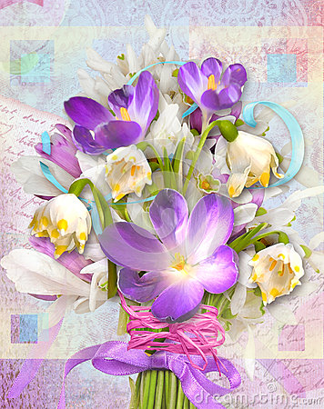 Free Spring Festive Card With Flowers Primroses And Crocuses. Royalty Free Stock Images - 68612519