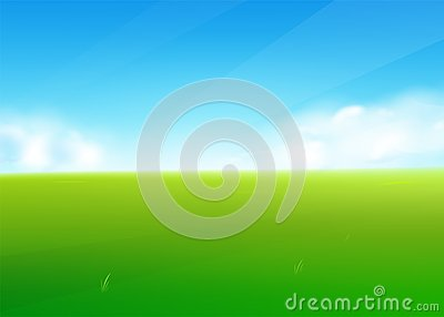 Spring field nature background with green grass landscape, clouds, sky Vector Illustration