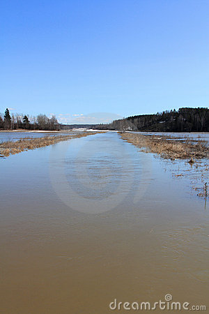 Spring Flooding of River in South of Finland