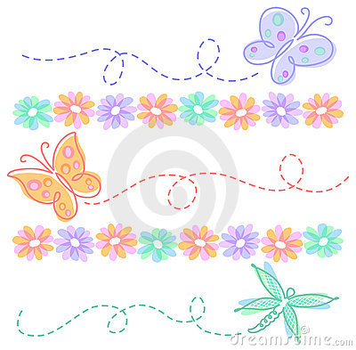 Free Spring Flower Butterfly Borders/eps Stock Photo - 18264620