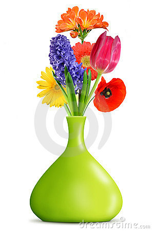 Spring flower in the green vase
