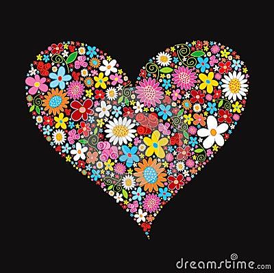 Spring flower valentine heart