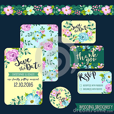 Free Spring Flower Wedding Stationery Royalty Free Stock Photos - 71697308