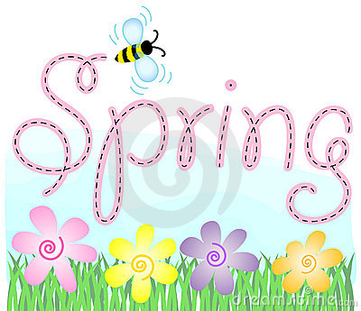 Pastel spring flowers in the grass with a bee and the headline spring