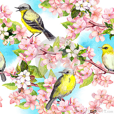 Free Spring Flowers Blossom, Birds With Blue Sky. Floral Seamless Pattern. Vintage Watercolor Royalty Free Stock Photos - 81678308