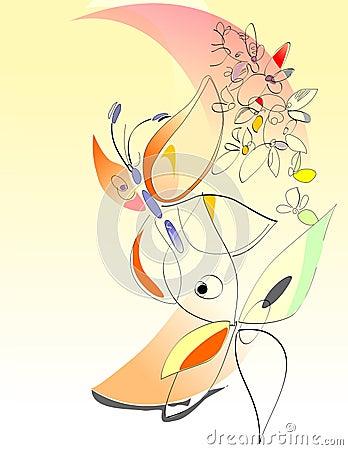 Spring - Flowers And Butterflies - Digital Art