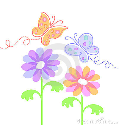 Spring Flowers and Butterflies/eps