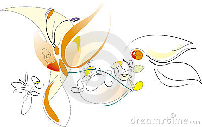 Spring - Flowers And Butterfly - Vector Artistic Illustration